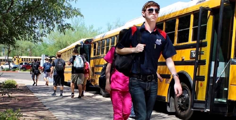Students Getting Off A School Bus. Photo Courtesy Of East Valley Institute Of Technology.