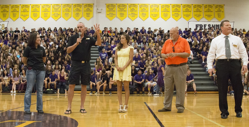 Virginia Sautner Is Recognized By Arizona Rural Schools Association Members For Being Named National Rural Educator Of The Year At The Lake Havasu High School's Golden Shovel Pep Assembly. As Student Council Advisor, Sautner Works With Students To Organize The Assemblies. Photo Courtesy Lake Havasu High School