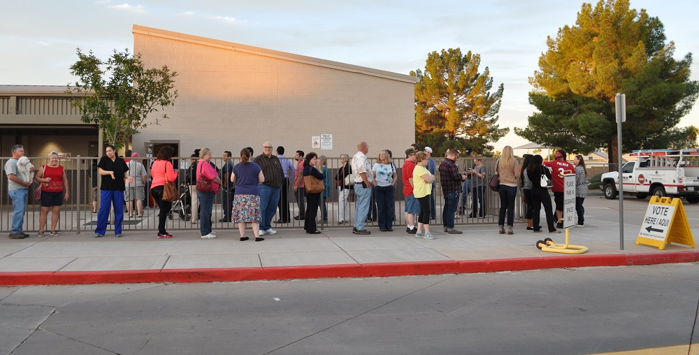 People Wait In Line To Vote Outside Sundance Elementary School In Peoria, Arizona On Election Day, Nov. 8, 2016. Photo Lisa Irish/AZEdNews