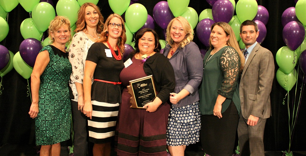 Michelle Doherty, Arizona Teacher Of The Year 2017, Center, Surrounded By Previous Teachers Of The Year. Photo Courtesy Arizona Educational Foundation