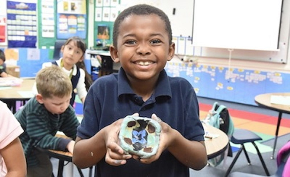 Tempe Elementary Student Making A Bowl To Give Back To The Community. Photo Courtesy Tempe Elementary School District