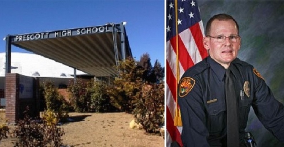 Prescott High School, Photo Courtesy Prescott Unified School District. Prescott Police Officer Bill Wolfe, Photo Courtesy Prescott Police Department.