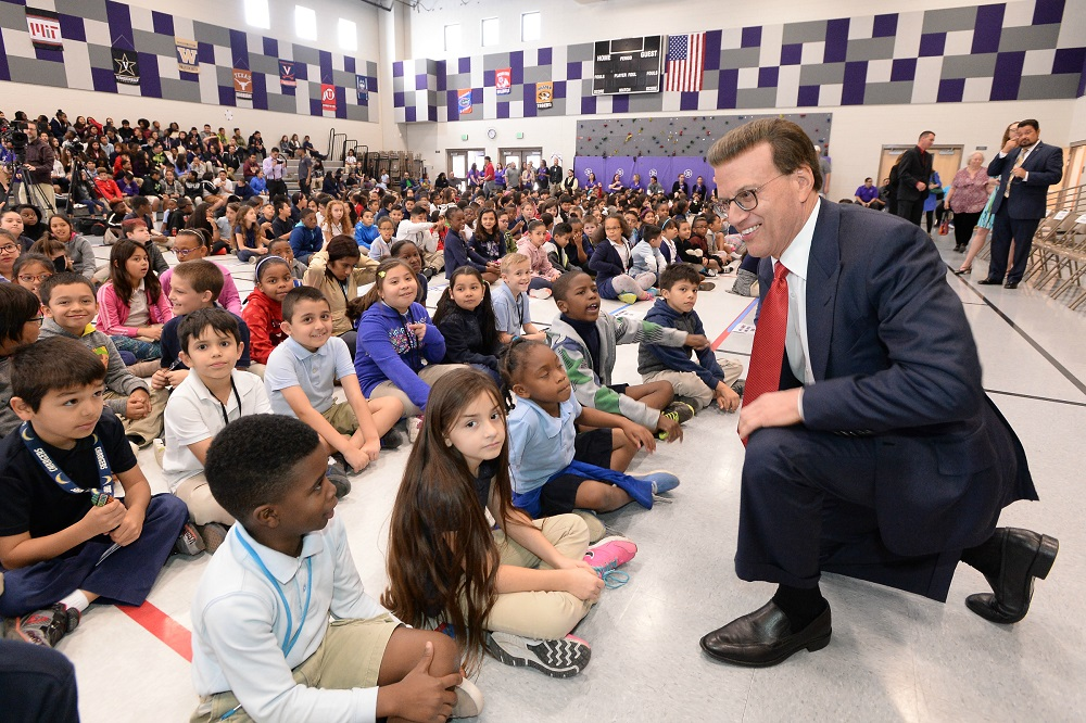 Laveen principal honored with Milken Educator Award Lowell-Milken-Rogers-Ranch-before-assembly-2