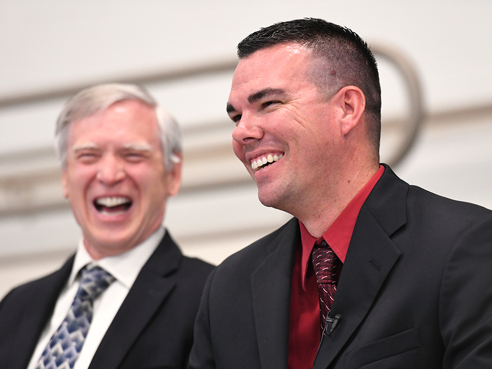 Timothy Thomas (right), Principal Of Rogers Ranch School, Is Shocked To Hear That He Has Won Arizona's 2016-17 Milken Educator Award And $25,000! Laveen Elementary School District Superintendent Dr. Bill Johnson Looks On With Excitement And Pride. Photo Courtesy Milken Family Foundation