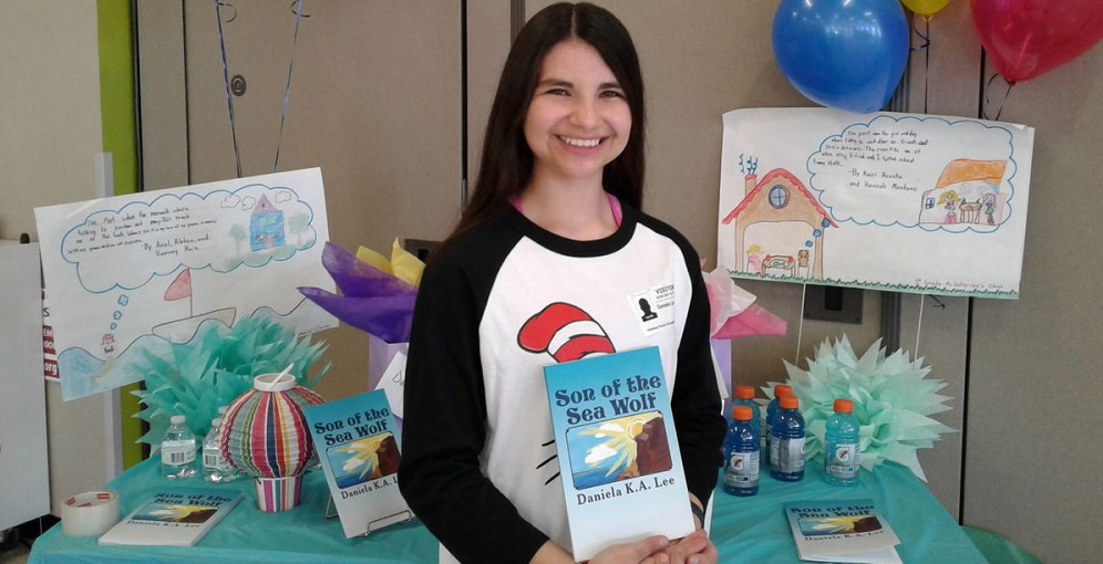 "Daniela K.A. Lee, 15, Was Recently Invited As The Guest Of Honor To Harmony Elementary School In El Paso, Texas, To Speak To The Students There About Her New Book, ""Son Of The Sea Wolf,"" About A Border Collie Named Joshua Who Captains A Sail Of Ships. Photo Courtesy Of The White Mountain Independent"