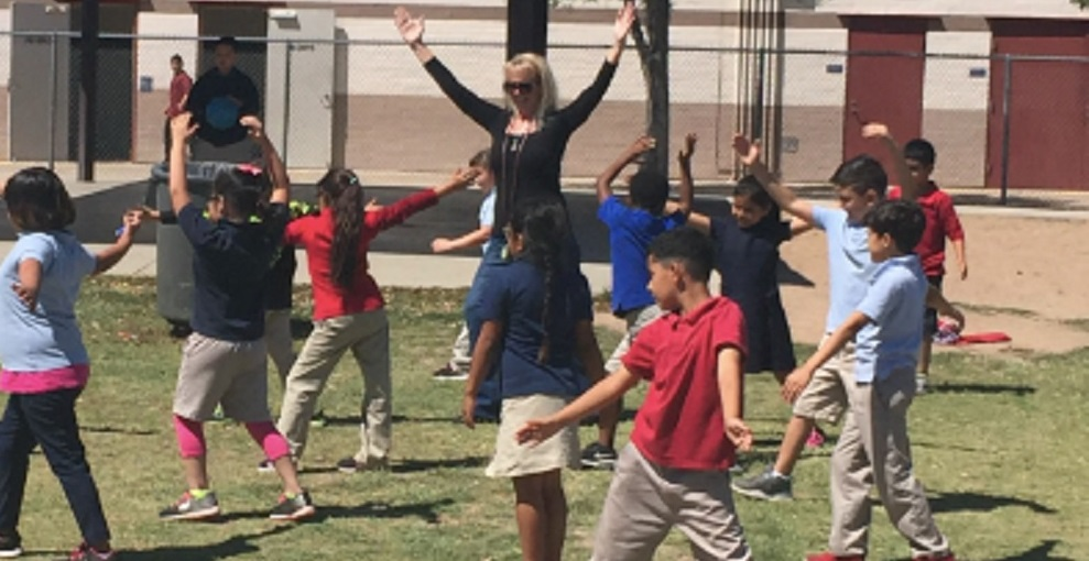 Holiday Park Elementary School Principal Rebecca Leimkuehler And Students During A Movement Break. Photo Courtesy Holiday Park Elementary School.