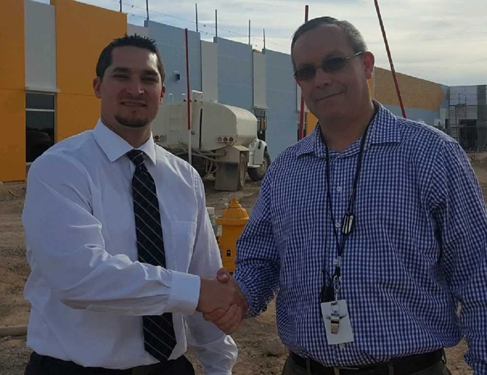 Marionneaux Elementary School Principal, Nick Forgette, Congratulates Awardee Ken Vallier At The Site Of The New School. Photo Courtesy Buckeye Elementary School District