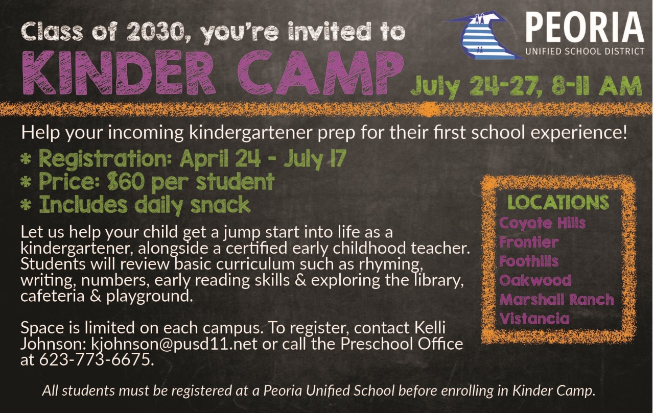 Enroll Your Child In Peoria Unified's Kinder Camp!