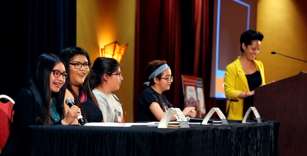 Students Nikole Gomez, Far Left, Nizhoni Long, Left, Samee Johnson, Center, Nora Fayad, Right, Discuss Equity In Their Schools In A Panel Moderated By Nuvia Enriquez, Far Right, During The Equity Event On Friday, April 7, 2017 In Glendale, Arizona. Photo By Brooke Razo/AZEdNews