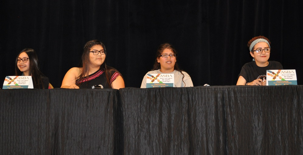 Students Nikole Gomez, Far Left, Nizhoni Long, Left, Samee Johnson, Right, And Nora Fayad, Far Right Discussed How Schools Could Best Support Students Learning At The Equity Event On April 7, 2017 In Glendale, Arizona. Photo By David Marino Jr./AZEdNews