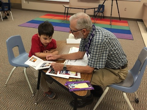 AARP Experience Corps Tempe Volunteer Robert Zumoff And Student At Aguilar Elementary School. Photo Courtesy Tempe Elementary School District