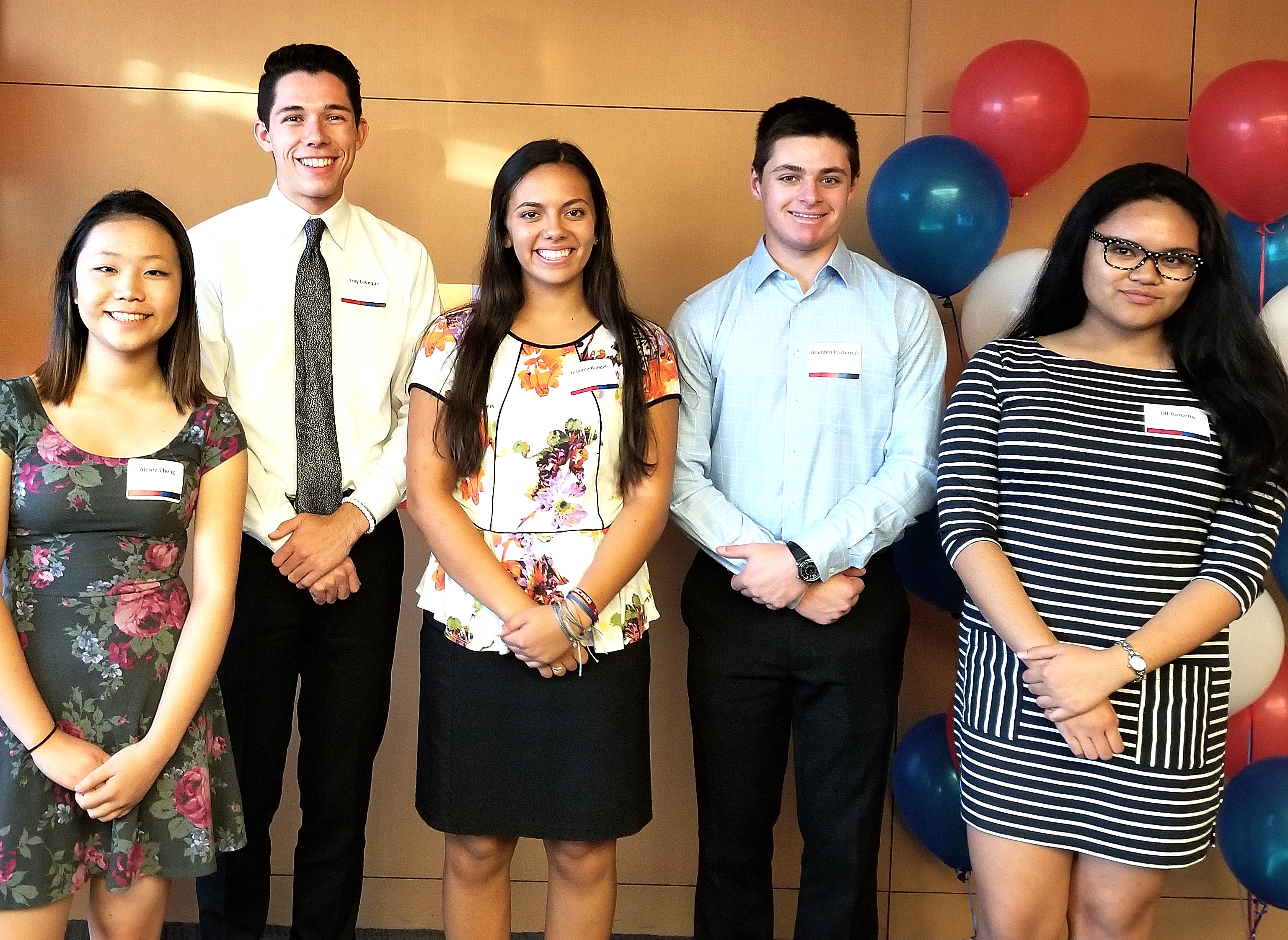 Bank Of America Today Announced That Five High School Juniors And Seniors From The Phoenix Metro Area Have Been Selected As Student Leaders. They Are From Left To Right: Aimee Cheng, Trey Leveque, Brianna Rangel, Brandon Pasternak, And Jill Barcena. Photo Courtesy Of Bank Of America