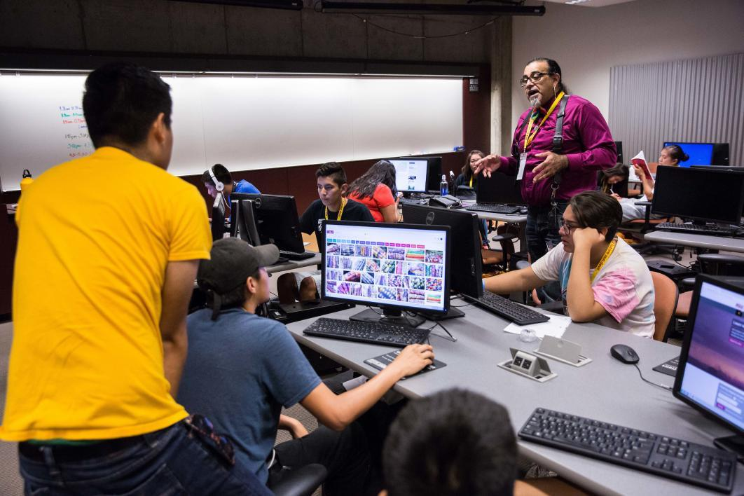 ASU English Instructor And Mentor Henry Quintero Talks With Students About Indigenous And Non-GMO Corn During A Writing Workshop In The Lattie Coor Building In Tempe On June 23 As Part Of ASU's Inspire Program For Native High School Students. Photo By Deanna Dent/ASU Now