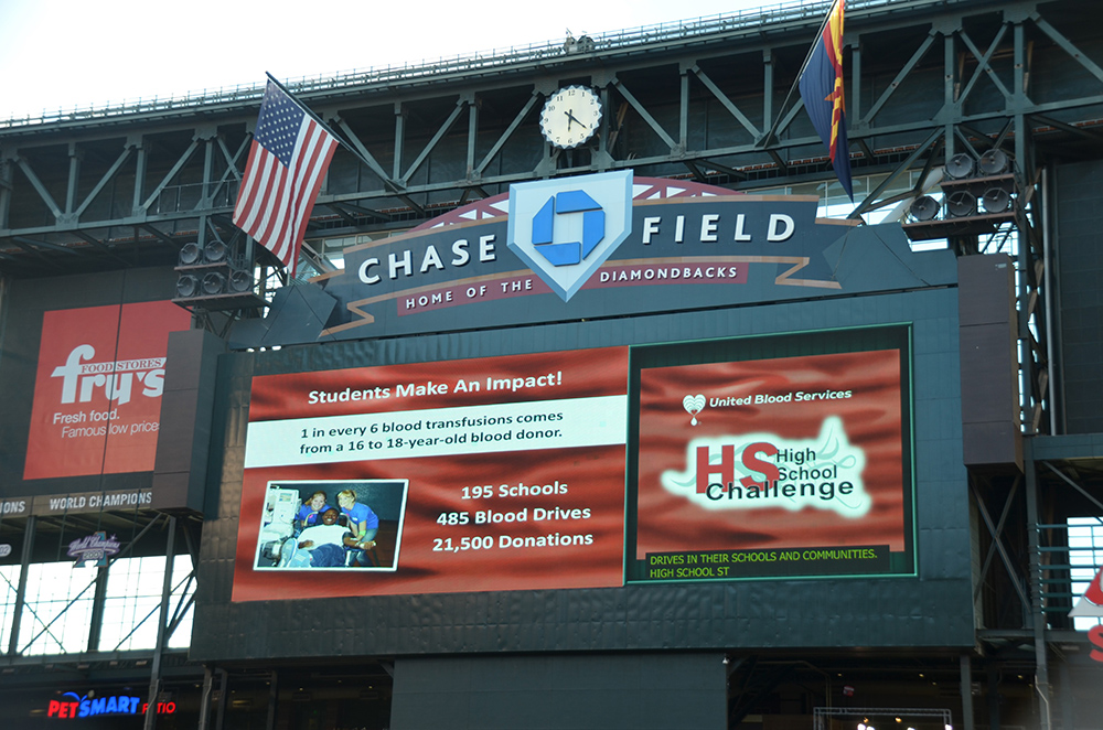 Arizona High Schools Honored At D-backs Game For Giving 1 In Every 6 Blood Transfusions. Photo Courtesy United Blood Services