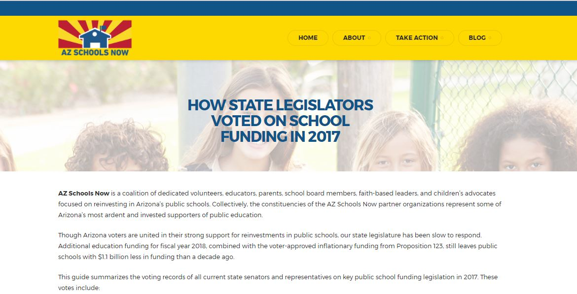 Voting records reveal legislators' levels of support for public education AZSchoolsNowReport
