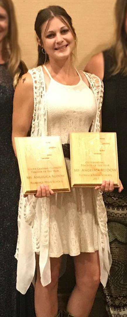 Florence High School Agriculture Teacher Angelica Rudow Was Named The Arizona Agriculture Teacher Of The Year By The Agriculture Teacher's Association. She Was Awarded The Outstanding South Central District Teacher Of The Year Award As Well. Photo Courtesy Florence Unified School District