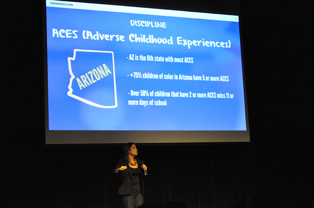 Dr. Yara Vargas describes the role that ACEs, or Adverse Childhood Experiences play in behavior and school discipline at the Demand2Learn launch. Photo by Lisa Irish/AZEdNews
