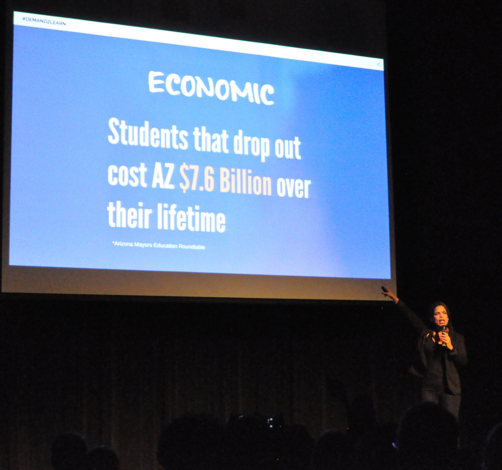 Dr. Yara Vargas discusses the economic costs of dropouts to the state at the Demand2Learn launch. Photo by Lisa Irish/AZEdNews