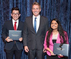 2017 Winners Of The U.S. Senate Youth Scholarship Program – Henry Rosas Ibarra And Meena Venkataramanan. Pictured Here With Arizona State Senator Jeff Flake. Photo Courtesy Arizona Dept. Of Education