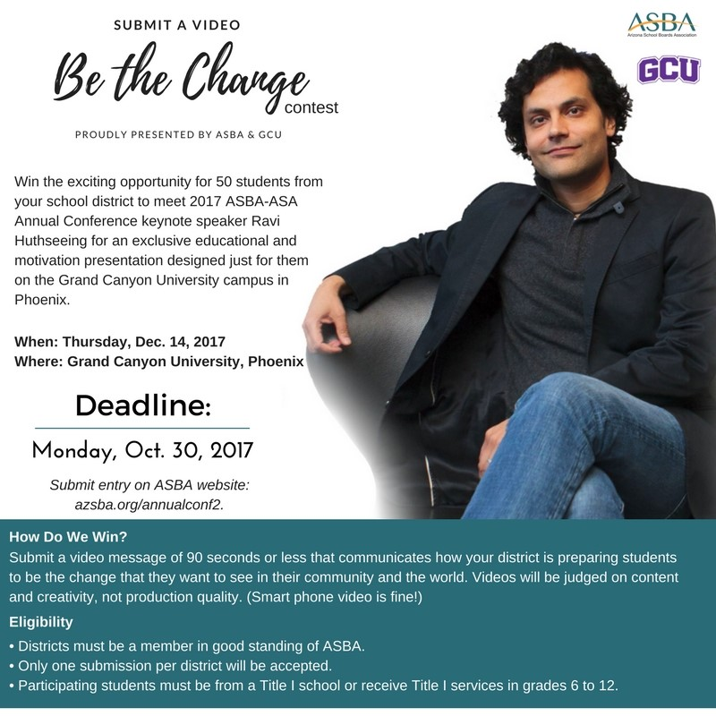 Be The Change Press Release And Photo By Arizona School Boards Association And Grand Canyon University.