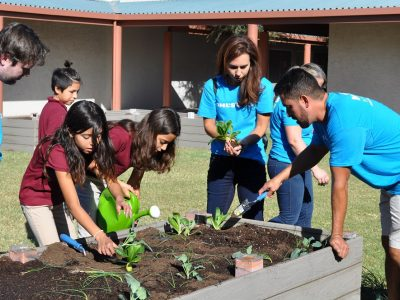 Slideshow: Students plant new garden courtesy of Kohl's Mindful Me program GirlsGardeningWithVolunteers3HP-400x300