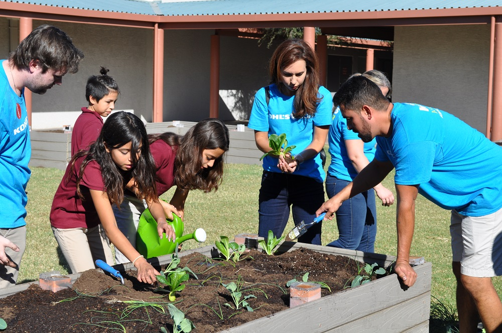 Garfield Elementary School Sixth-graders Planted Lettuce, Garlic, Chives, Carrots And Beets In A New Garden On Campus Last Week, Thanks To A Partnership Between Phoenix Children's Hospital's Center For Family Health And Safety, Kohl's And The Mollen Foundation.
