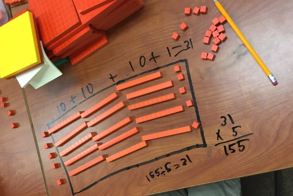Students Break Down A Math Problem With Blocks At Crane School District. Photo Courtesy Crane School District