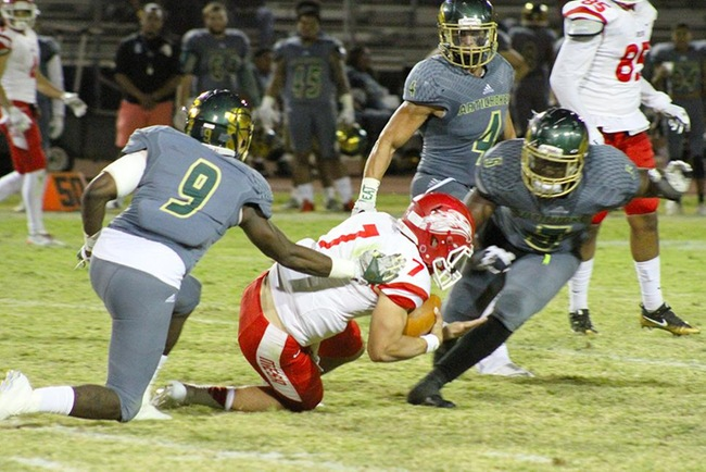 #19 Scottsdale Defense Bombards #11 Mesa Offense In 38-28 Loss To Artichokes. Photo Courtesy Of Maricopa Community Colleges
