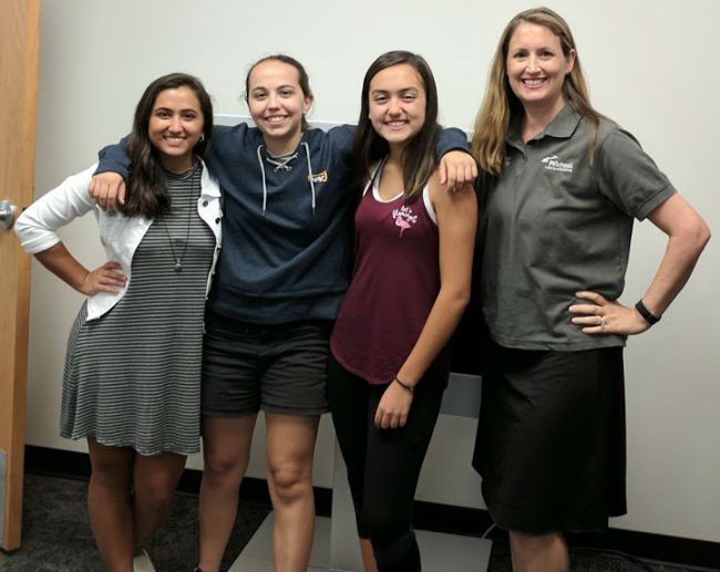 Hayden Araza, Far Left, Susan Addison, Left, Giselle Col, Right, And Karen Mensing, Far Right. A Team Of Three PVSchools' Students Will Face Competition From Entrepreneurs, Innovators And Businesses As The Finalists Vie For The Winning Title Of The Smart City Hack 2017 Competition. Photo Courtesy PV Schools