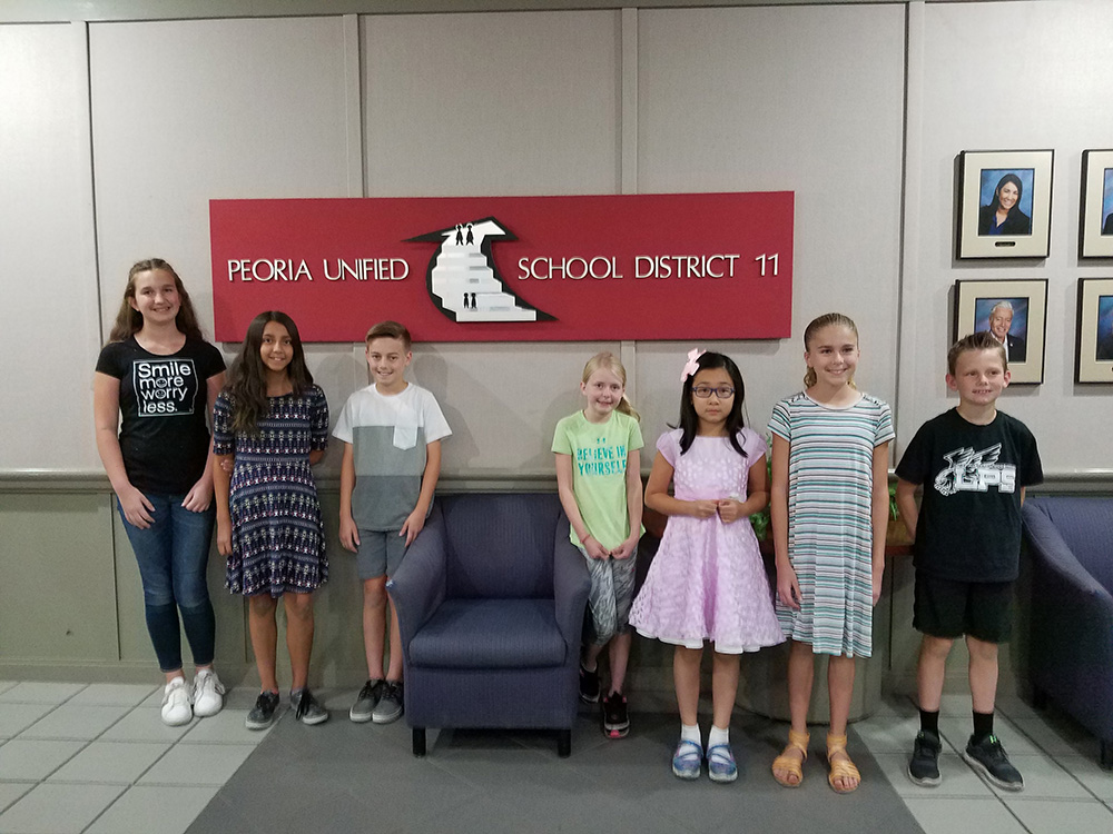 From Left To Right – Katelyn McCort, Magdalena Annala, Kamren Haderlie, Brooke Denton, Tammy Le, McKenzie Frey, Grady Bailey (not Pictured: Alyssa Ridgley). Photo Courtesy Peoria Unified School District.