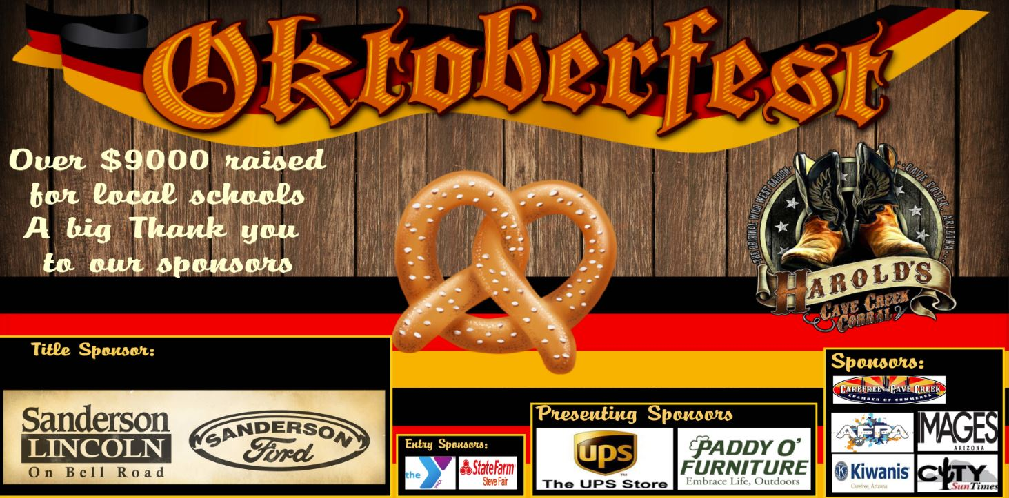 Over $7,500 Raised For Cave Creek Unified Schools At Oktoberfest. Courtesy CCUSD