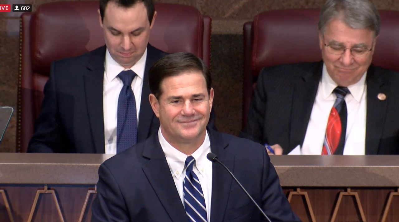 Governor Doug Ducey Speaking At The 2018 Opening Day At The Arizona State Legislature. Photo Courtesy Of Arizona Capitol TV