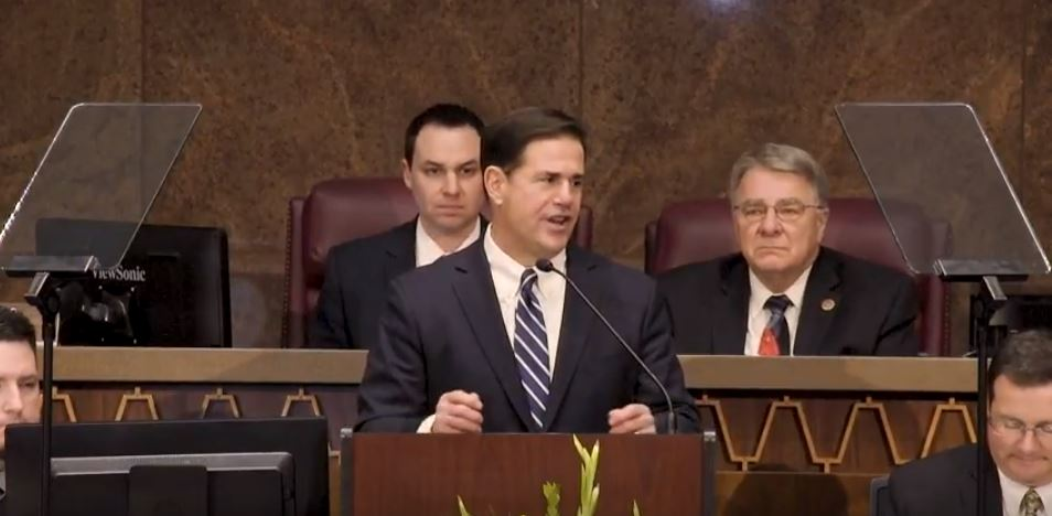 Arizona Gov. Doug Ducey Said He Will Increase Arizona K-12 Education Funding By Moving Money From Other Areas Of The Budget Into The State's Public Schools During His State Of The State Address Earlier Today At The Arizona Legislature. Photo Courtesy Arizona Capitol Television