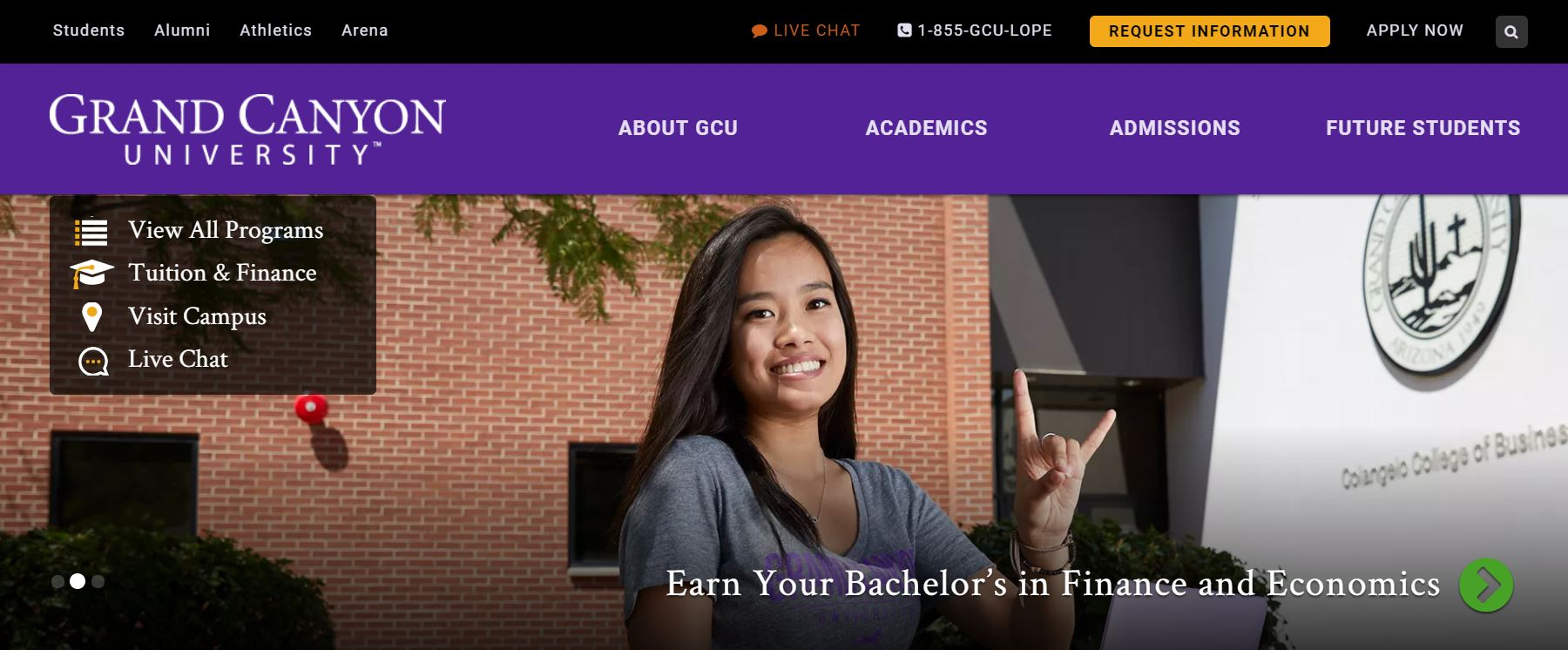 Grand Canyon University Homepage Image Of A Student In Front Of A Building. Courtesy Of Grand Canyon University