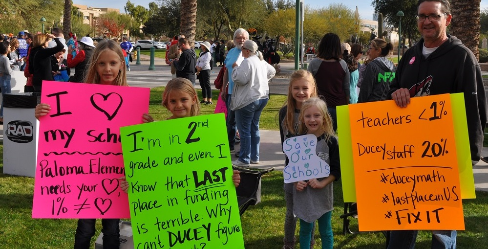 A Family That Attended The March To Save Our Schools And Support Public Education On Sautrday, Jan. 6, 2018 At The Arizona Capitol. Photo By Lisa Irish/AZEdNews