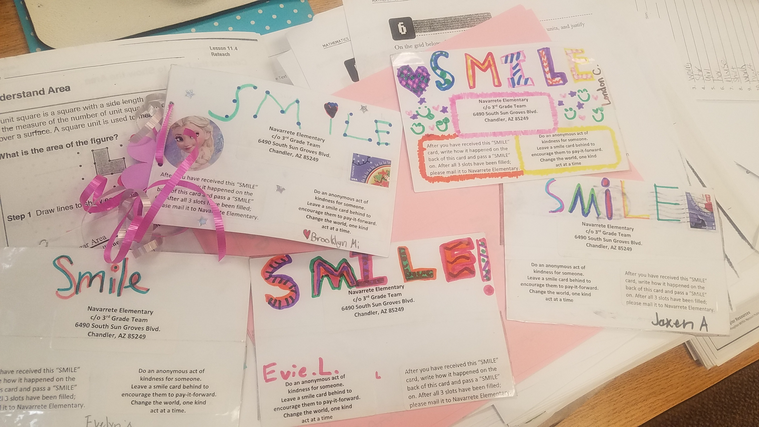 Smile Cards Made By Third-graders At Navarrete Elementary School In Chandler. Photo Courtesy Chandler Unified School District