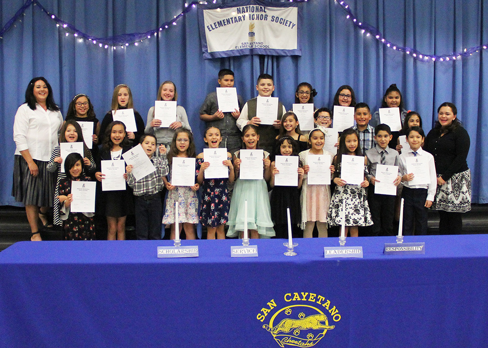 San Cayetano Elementary Inducted New Honor Society Members. Photo Courtesy Of Santa Cruz Valley Unified School District