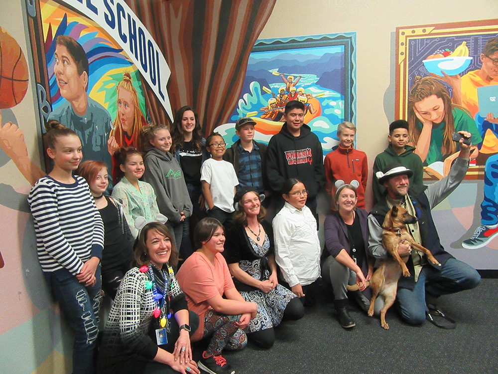 Mount Elden Middle School Students Depicted In The Mural With Their Art Teachers And The Mural Mice. Photo Courtesy Of Flagstaff Unified School District