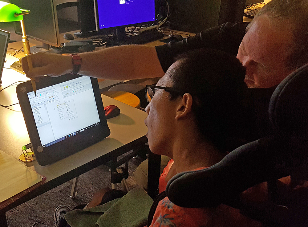 The Retinal Scanners Follow The Movement Of Shadow Ridge High School Student James Moore's Eyes To Move The Computer's Cursor, Allowing James To Draw Architectural Designs, Floor Plans And Other Basic Illustrations. Photo Courtesy Shadow Ridge High School