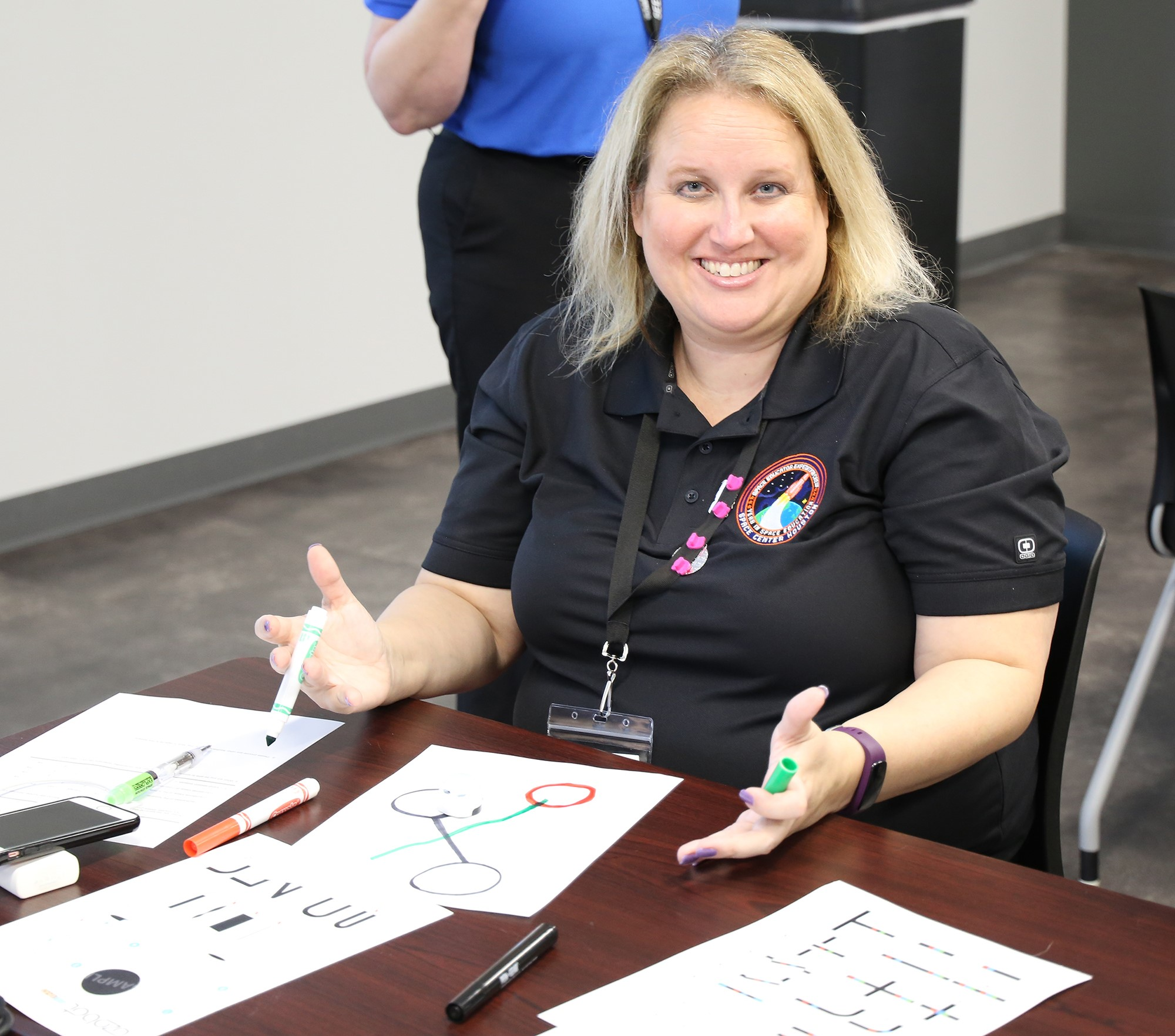 Jennifer Cheesman Takes A Break During A Robotics Session At The 24th Space Exploration Educators Conference At Space Center Houston. The Nonprofit Honored Cheesman With The Cherri Brinley Outstanding Educator Award At The Three Day Conference In Front Of 550 Fellow Teachers From Around The World. Photo Courtesy Of Space Center Houston.