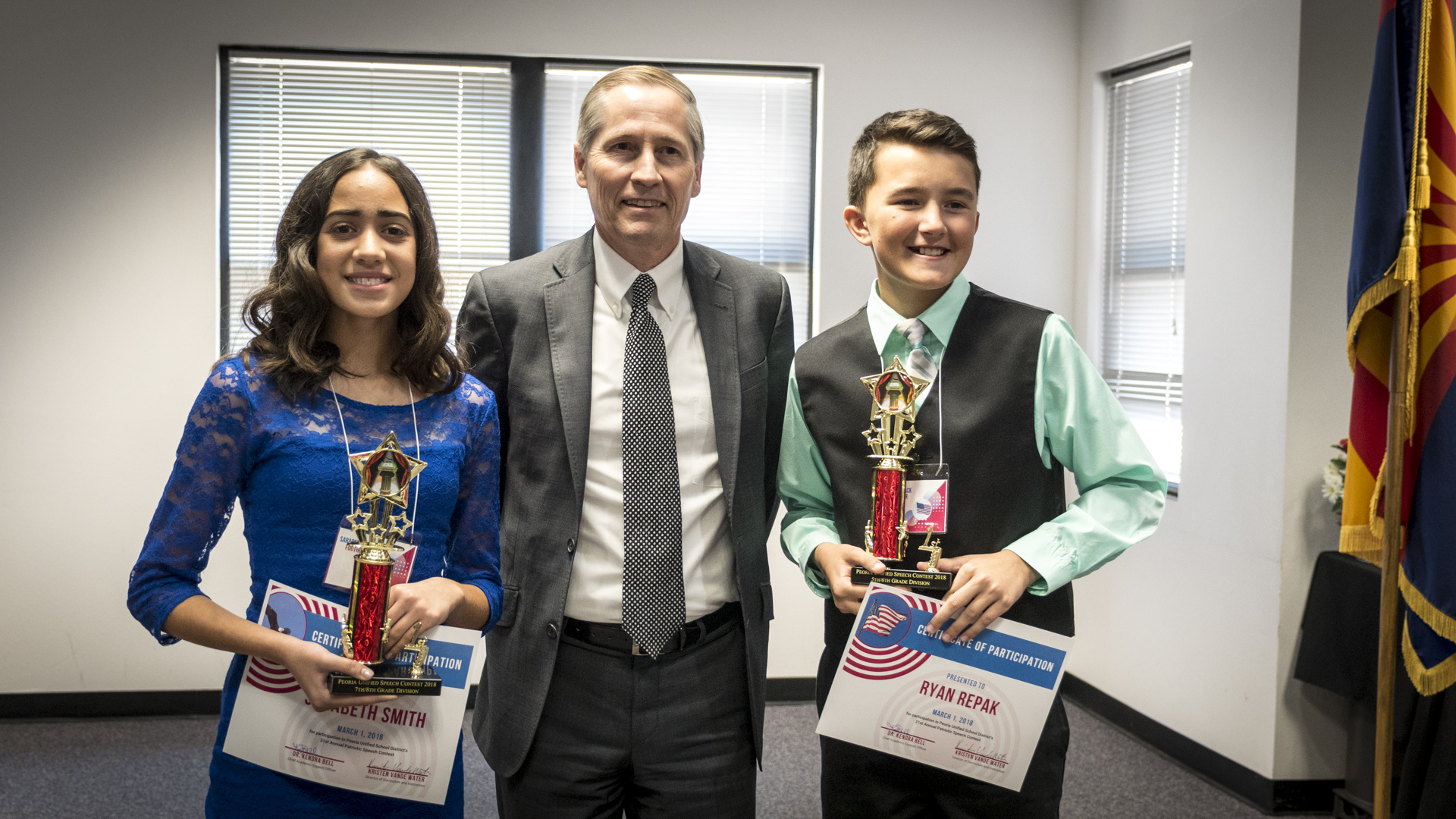 Area 1 Winners (from Left To Right) Sarabeth Smith, Supreme Court Justice Andrew Gould And Ryan Repak. Photo Courtesy Of Peoria Unified School District