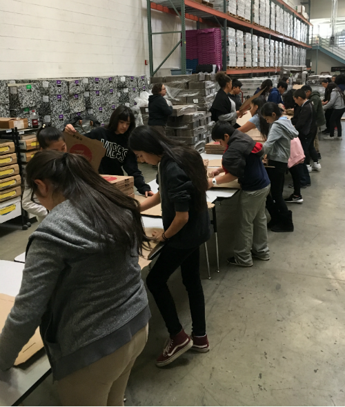 Palomino Intermediate School Students Helped Assemble Pizza Boxes While Simultaneously Using Math Estimation Skills. Photo Courtesy Paradise Valley Schools