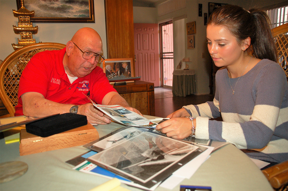 Veterans Heritage Project Student Katya Hoodkoff Interviews Vietnam/Cold War Veteran Ray Rodes About His Service In 2012. (Photo Courtesy Of Barbara Hatch/ Veterans Heritage Project)