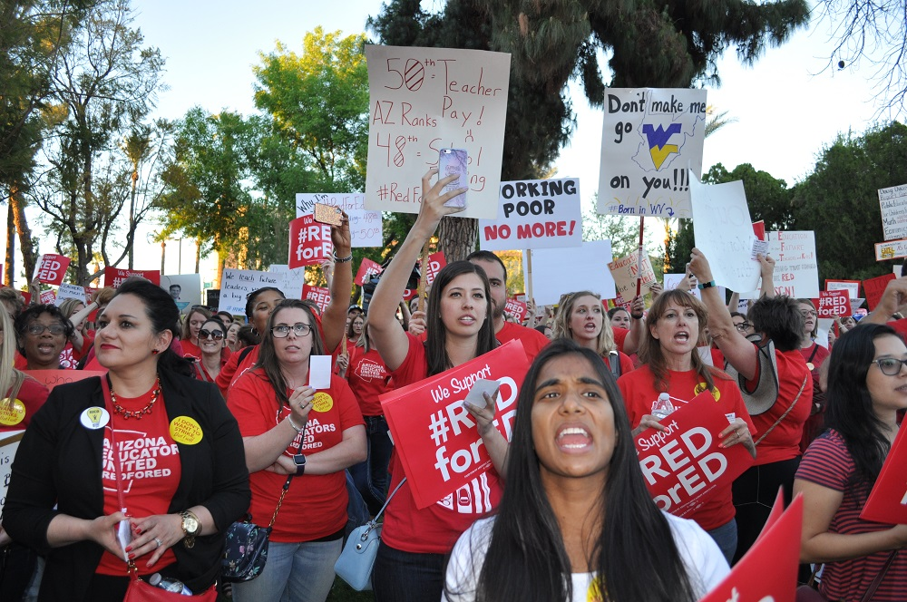 Teachers Protest Low Pay And Per Pupil Funding During The As Part Of Arizona's Day Of Action For Education, Organized By Arizona Educators United, A Grassroots Group Of Teachers, With Help From Save Our Schools Arizona And Arizona PTA At The Arizona State Capitol In Phoenix On Wednesday, March 28, 2018. Photos By Lisa Irish/AZEdNews