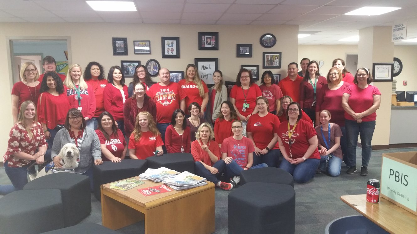 Kino Junior High School Teachers And Staff Wear #RedForEd On Wednesday To Draw Attention To Low Teacher Pay. Photo Courtesy Nancy O'Halloran Quinlan On Facebook