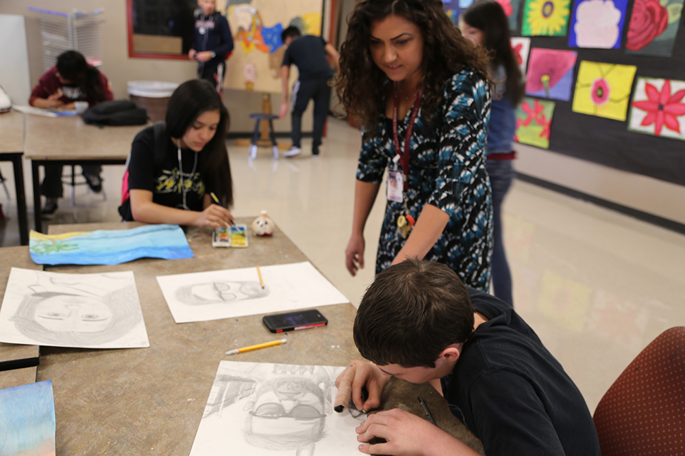 A Teacher Works With Students At Sierra Linda High School On A Project. Photo Courtesy Brooke Razo/ Arizona School Boards Association