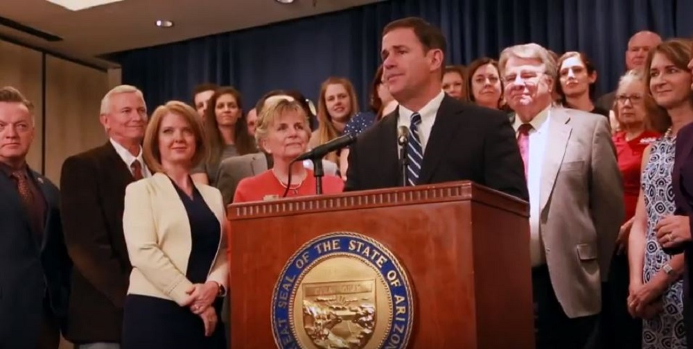 Gov. Doug Ducey Proposes Raising Teacher Pay By 9 Percent Next School Year During A Press Conference Thursday Afternoon. Photo By Brooke Razo/Arizona School Boards Association