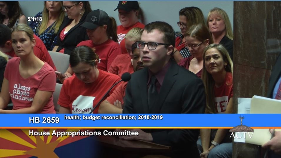 #RedForEd Education Supporters Listen To Proceedings In The House Appropriations Committee As Part Of The Budget Process On May 1, 2018. Photo Courtesy Of Arizona Capitol Television