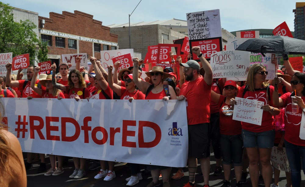 More than 50,000 teachers walk-out to protest low pay, funding TeacherWalkoutStartOfMarchHP