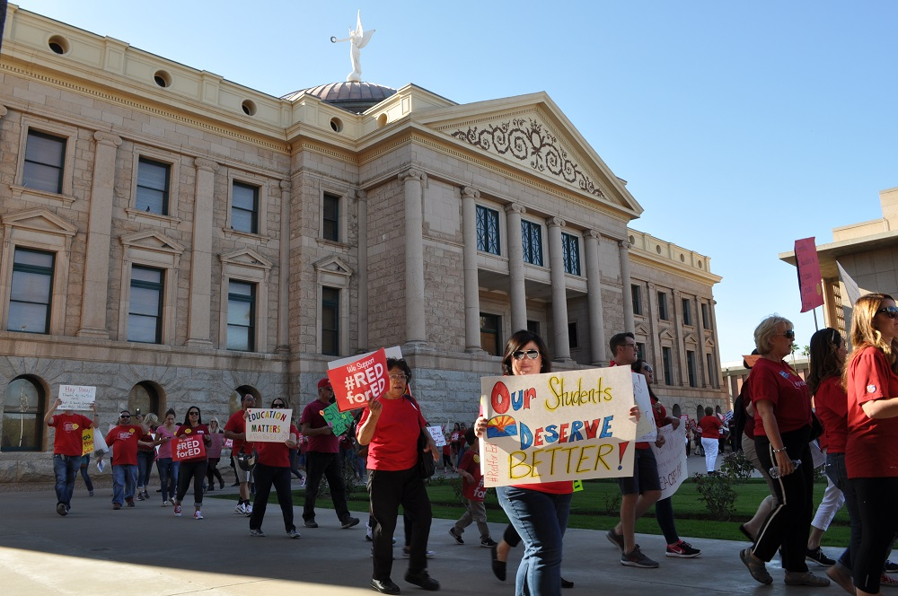 Teachers protest, demand extraordinary funding increases, in Arizona and Colorado